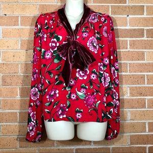 Zara size XL Blouse Velvet Tie Neck Floral